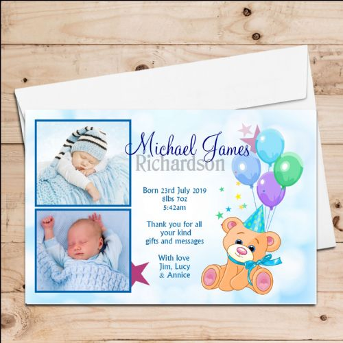 10 Personalised Baby Boy Birth Announcement Thank You PHOTO cards N68